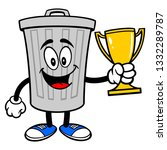 trash can mascot with a trophy  ... | Shutterstock .eps vector #1332289787