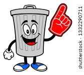 trash can mascot with a foam... | Shutterstock .eps vector #1332290711