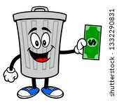 trash can mascot with a dollar  ... | Shutterstock .eps vector #1332290831