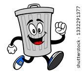 trash can mascot running   a... | Shutterstock .eps vector #1332291377