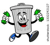 trash can mascot running with... | Shutterstock .eps vector #1332292127