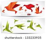 origami paper bird.vector... | Shutterstock .eps vector #133233935