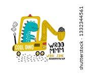 little dinosaur digger. funny... | Shutterstock .eps vector #1332344561