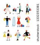 young women and men in trendy... | Shutterstock .eps vector #1332353381