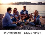 group of young friends having... | Shutterstock . vector #1332378494
