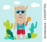 cool llama in sunglasses flat... | Shutterstock .eps vector #1332397331