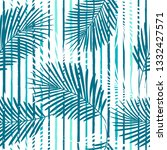 tropical pattern  palm leaves... | Shutterstock .eps vector #1332427571