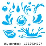 water. splash and spray. set.... | Shutterstock .eps vector #1332434327