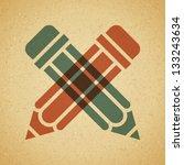 vintage pencil icon. vector... | Shutterstock .eps vector #133243634