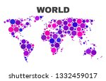 mosaic world map isolated on a... | Shutterstock .eps vector #1332459017