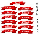 set of red sale ribbons with... | Shutterstock . vector #1332461891