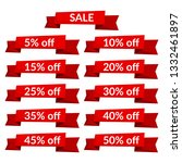 set of red sale ribbons with...   Shutterstock . vector #1332461897