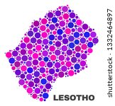 mosaic lesotho map isolated on... | Shutterstock .eps vector #1332464897