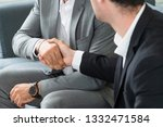 businessman handshake with... | Shutterstock . vector #1332471584