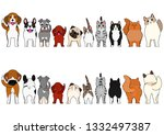 cats and small dogs border set | Shutterstock .eps vector #1332497387