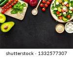 ingredients for fresh salad.... | Shutterstock . vector #1332577307