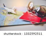 passport placed on the map...   Shutterstock . vector #1332592511