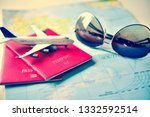 passport placed on the map...   Shutterstock . vector #1332592514