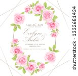 Stock vector floral wedding invitation with pink rose 1332681434