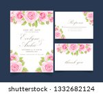 floral wedding invitation with... | Shutterstock .eps vector #1332682124