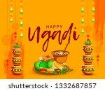 illustration of happy ugadi...   Shutterstock .eps vector #1332687857