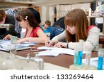 students at work in the... | Shutterstock . vector #133269464