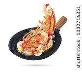 pad thai on fried pan. thai... | Shutterstock .eps vector #1332716351