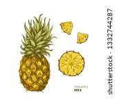 pineapple illustration.... | Shutterstock .eps vector #1332744287