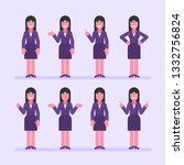 business woman brunette points... | Shutterstock .eps vector #1332756824