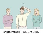 Stock vector the people around him are criticizing him he is in a panic hand drawn style vector design 1332758207