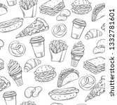 fast food decorative seamless... | Shutterstock . vector #1332781601