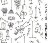 hand drawn seamless pattern... | Shutterstock . vector #1332782171