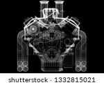 suspension architect blueprint ... | Shutterstock . vector #1332815021