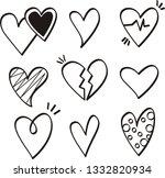 set of nine hand drawn heart | Shutterstock .eps vector #1332820934