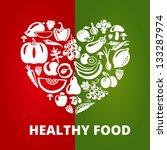 healthy food concept. heart... | Shutterstock .eps vector #133287974