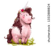 cute lovely pink unicorn with... | Shutterstock . vector #1332888824