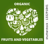 organic food concept. heart... | Shutterstock .eps vector #133291841