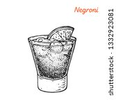 negroni cocktail illustration....   Shutterstock . vector #1332923081