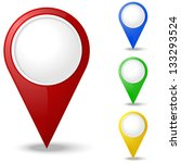 set of round 3d map pointers | Shutterstock .eps vector #133293524