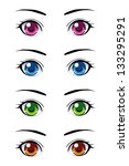 Set Of Anime Style Eyes Of...