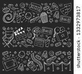 cinema pattern with vector... | Shutterstock .eps vector #1332973817