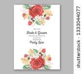 red garden rose floral wedding... | Shutterstock .eps vector #1333044077