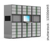 Modern Servers Rack isolated on white background - stock photo