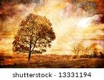 rusty sundown - artistic picture in grunge style - stock photo