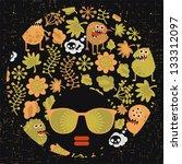 black head woman with strange... | Shutterstock .eps vector #133312097