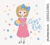 cute little girl with ball | Shutterstock .eps vector #1333121501