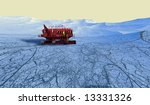 Mars Prospecting Vehicle traversing Mars Polar ice cap - stock photo
