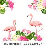 flamingo background design.... | Shutterstock .eps vector #1333139627