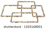 crowd of small symbolic figures ... | Shutterstock . vector #1333168001