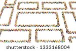 crowd of small symbolic figures ... | Shutterstock . vector #1333168004